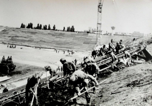 Construction of Stadionul Ghencea in Bucharest by the Romanian Army, early 70s.